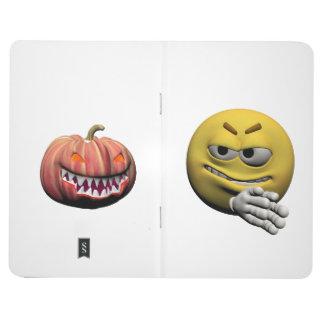 Diário Emoticon amarelo ou smiley do Dia das Bruxas