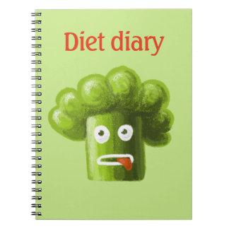 Diário engraçado da dieta dos brócolos dos caderno