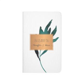 Diário Etiqueta de cobre com as folhas do azul de oceano