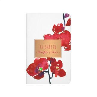 Diário Etiqueta de cobre com ramo floral vermelho da
