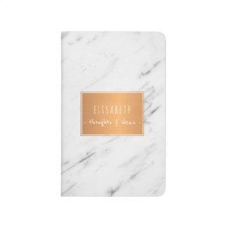 Diário Etiqueta de cobre nas notas à moda de mármore
