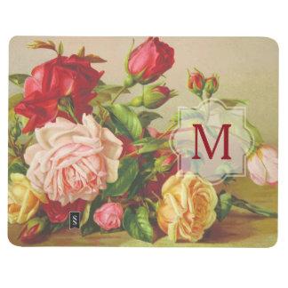 Diário Flores do buquê do vintage do monograma dos rosas