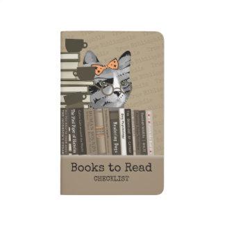 Diário Gato com a pilha dos livros - livros para ler a