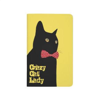 Diário Gato preto com laço vermelho - senhora louca do