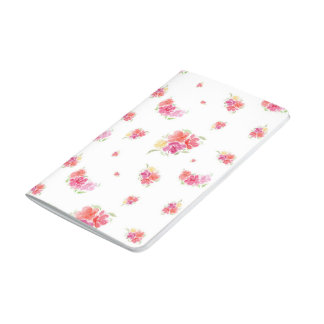 Diário Jornal cor-de-rosa e vermelho floral da aguarela