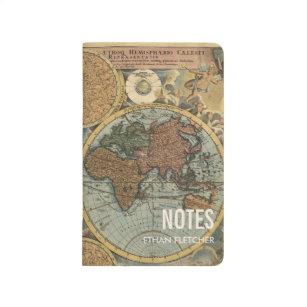 Diário Jornal de nota personalizado mapa do mundo do