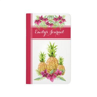 Diário Jornal encadernado floral do abacaxi tropical