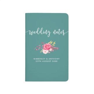 Diário Jornal Wedding personalizado floral do bolso das