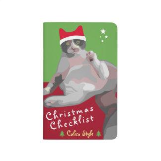 Diário Lista de verificação engraçada do Natal do gato de