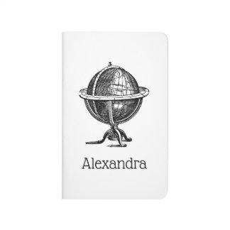 Diário Litografia do globo do mundo do vintage que tira