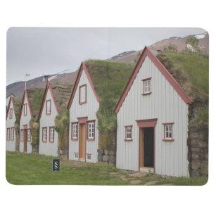 Diário Livro de nota com casas e imagem islandêsas da