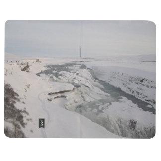 Diário Livro de nota com imagens da cachoeira de Gullfoss
