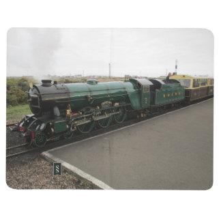 Diário Livro de nota com vapor e imagens diesel do trem