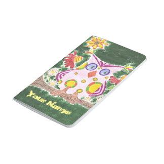 Diário Luz - coruja cor-de-rosa no jornal verde do bolso