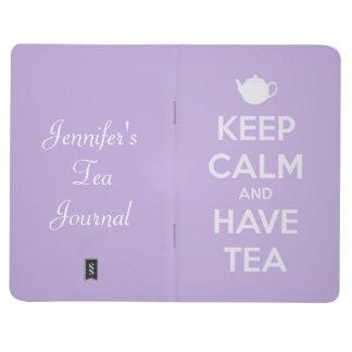 Diário Mantenha calmo e tenha a lavanda do chá personaliz