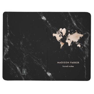 Diário Mapa do mundo claro do ouro no mármore preto