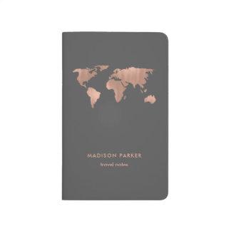 Diário Mapa do mundo cor-de-rosa do ouro do falso em