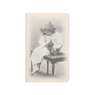 Diário Menina requintado da imagem do vintage & caderno