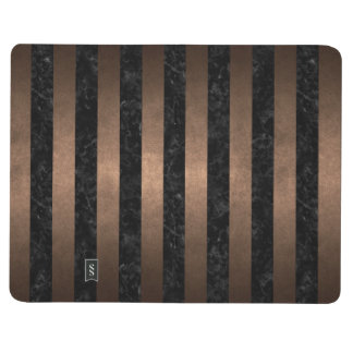 DIÁRIO METAL PRETO DO MÁRMORE STRIPES1 & DO BRONZE