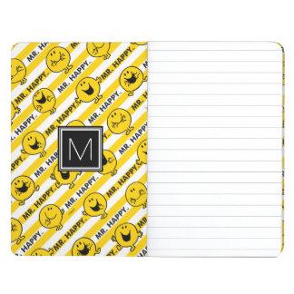 Diário Monograma amarelo do teste padrão | das listras do