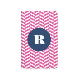 Diário Monograma do teste padrão de Herringbone do rosa
