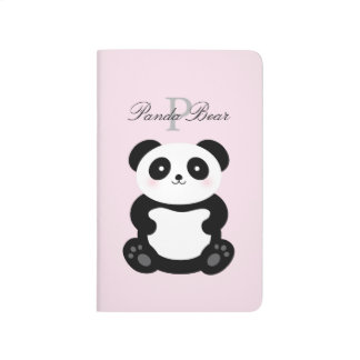 Diário Monograma feminino bonito do urso de panda do bebê