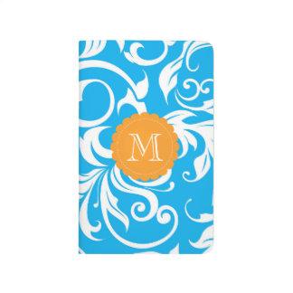 Diário Monograma floral alaranjado azul tropical do