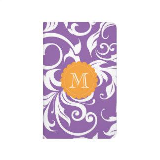 Diário Monograma floral alaranjado roxo violeta bonito do