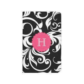 Diário Monograma floral branco e cor-de-rosa preto do