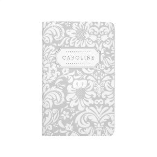 Diário Monograma floral cinzento do damasco