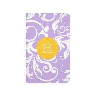 Diário Monograma floral do redemoinho do pêssego roxo da
