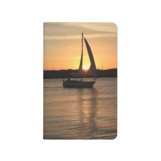 Diário Navigação na baía de Cardiff no por do sol