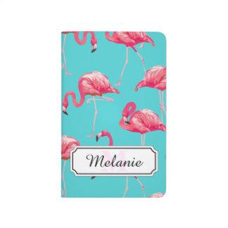 Diário Pássaros cor-de-rosa do flamingo no fundo de