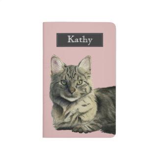 Diário Pintura média doméstica da aguarela do gato do