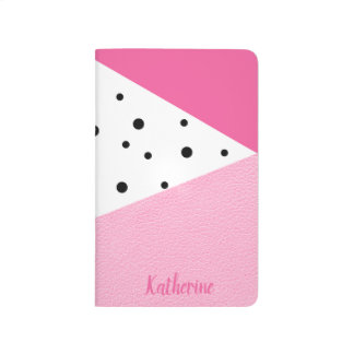 Diário Pontos pretos de couro cor-de-rosa geométricos