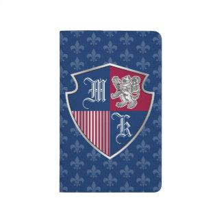 Diário Protetor de prata do emblema do monograma da