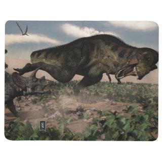 Diário Rex do tiranossauro que ruje em um triceratops
