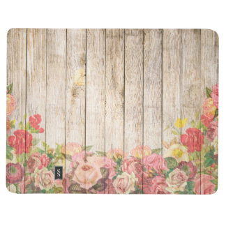 Diário Rosas românticos rústicos do vintage de madeira