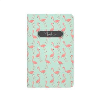 Diário Teste padrão cor-de-rosa do flamingo com nome