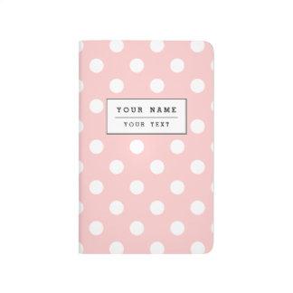Diário Teste padrão de bolinhas cor-de-rosa e branco