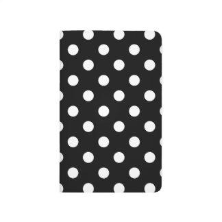Diário Teste padrão de bolinhas preto e branco