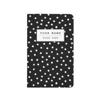 Diário Teste padrão de pontos preto e branco dos confetes