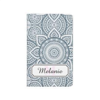 Diário Teste padrão floral branco azul geométrico da