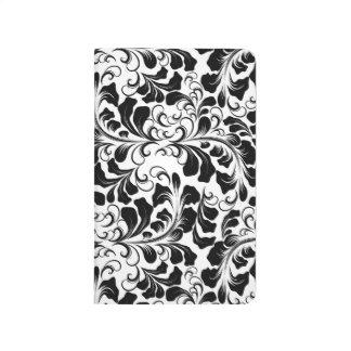 Diário Teste padrão preto e branco elegante das videiras
