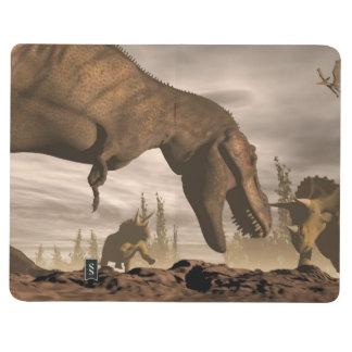 Diário Tiranossauro que ruje no triceratops - 3D rendem