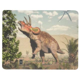 Diário Triceratops que come na árvore da magnólia - 3D