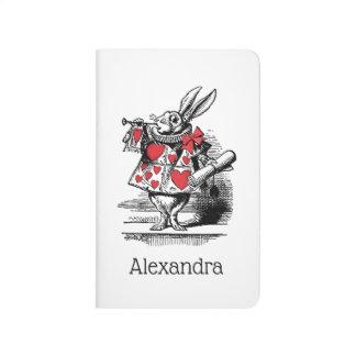 Diário Trompetista branca Alice da corte do coelho no