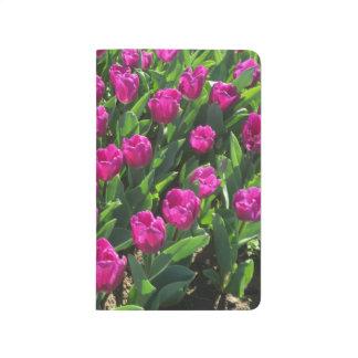 Diário Tulipas brilhantes do rosa quente personalizadas