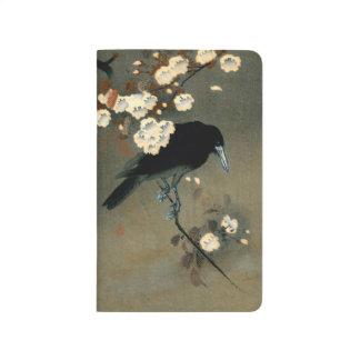 Diário Um corvo e uma flor pelo vintage de Ohara Koson