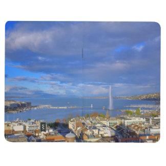 Diário Vista panorâmica do jato de água de Genebra